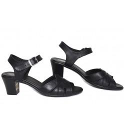 Български анатомични сандали, дамски, естествена кожа, катарама, ток / НЛМ 202-1705 черен кожа / MES.BG
