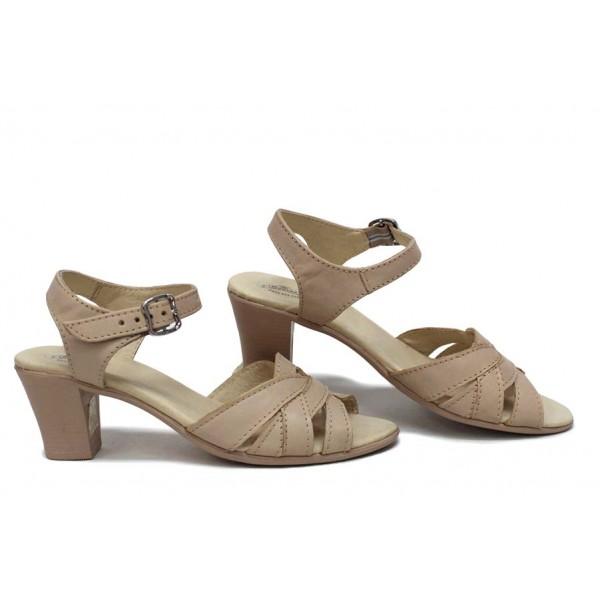 Анатомични сандали, дамски, мека естествена кожа, закопчаване с катарама, удобен ток / НЛМ 202-1705 сахара / MES.BG