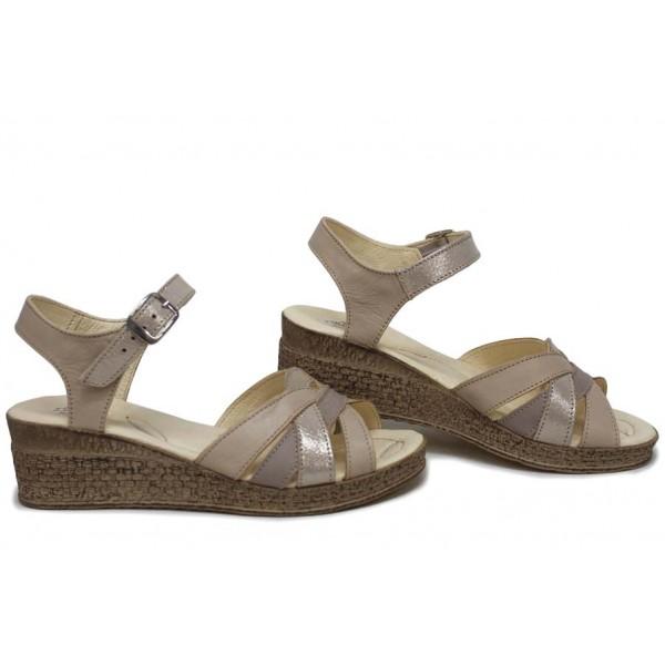 Български сандали на платформа, дамски, изцяло от естествена кожа, леки / НЛМ 202-18206 бежов-кум / MES.BG