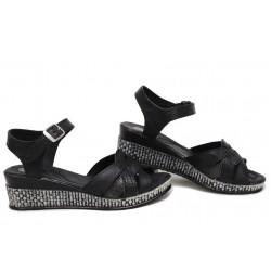 Български дамски сандали на платформа, естествена кожа, олекотено анатомично ходило / Ани 202-18206 черен питон / MES.BG