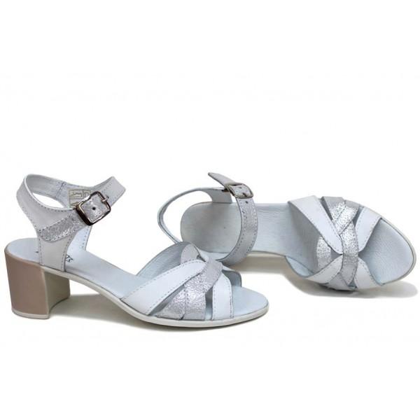 Дамски сандали, анатомични, естествена кожа, катарама, среден ток / НЛМ 202-527 бял кожа-сатен / MES.BG