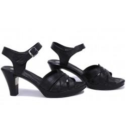 Анатомични сандали, дамски, български, естествена кожа, олекотени, висок ток / НЛМ 202-6843 черен кожа / MES.BG