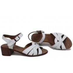 Български дамски сандали, анатомични, естествена кожа, удобно ходило / НЛМ 202-7251 бял / MES.BG