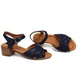 Дамски сандали, анатомични, български, изцяло от естествена кожа, леки, ток / НЛМ 202-7251 син / MES.BG