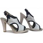 Стилни сандали, дамски, анатомични, естествена кожа, катарама / НЛМ 210-7976 бял-син / MES.BG