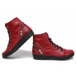 Български боти, спортни, дамски, анатомични, изработени от естествена кожа, декоративен цип / НЛМ 226-1608 червен / MES.BG