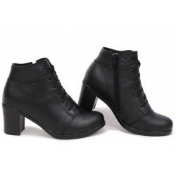 Стилни дамски боти, естествена кожа, анатомични, среден ток, удобни / НЛМ 227-18309 черен / MES.BG
