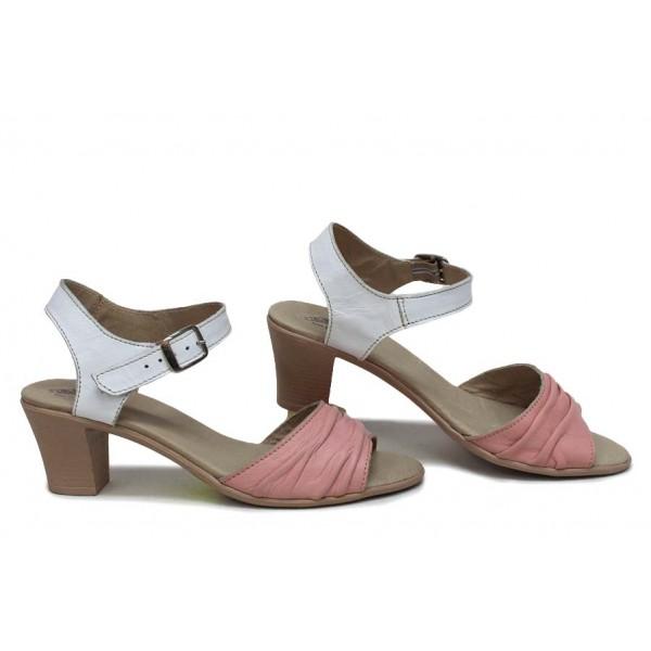 Анатомични сандали, дамски, среден ток, естествена кожа, катарама / НЛМ 239-1705 бял-пудра / MES.BG