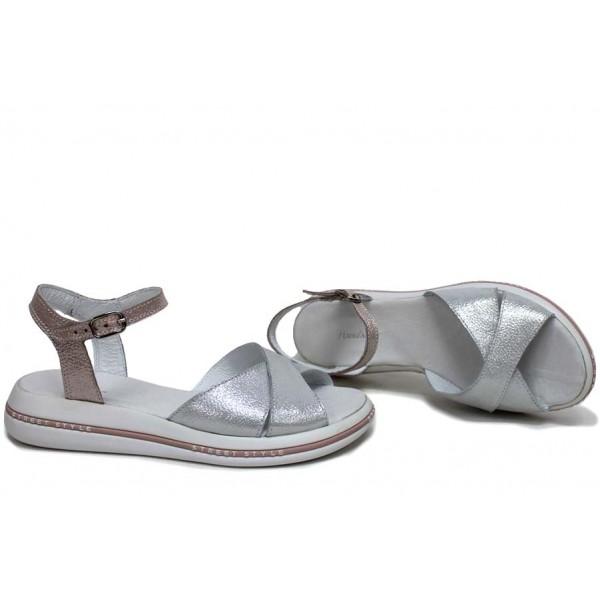 Ежедневни сандали, дамски, равни, естествена кожа, катарама, анатомични / НЛМ 240-189 бял-пудра сатен / MES.BG