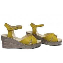 Ежедневни дамски сандали, анатомични, естествена кожа, български / НЛМ 240-96145 жълт / MES.BG