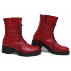 Анатомични боти, български, дамски, естествена кожа, атрактивен цвят / НЛМ 255-Brook червен / MES.BG