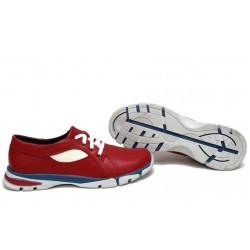 Анатомични български обувки от естествена кожа НЛМ 257-КРОС червен-бежов | Равни дамски обувки | MES.BG