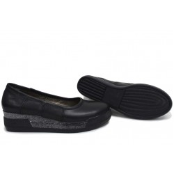 Анатомични български обувки от естествена кожа НЛМ 258-8218 черен | Обувки на платформа | MES.BG