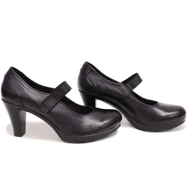 Анатомични български обувки от естествена кожа НЛМ 261-6843 черен кожа | Дамски обувки на висок ток | MES.BG