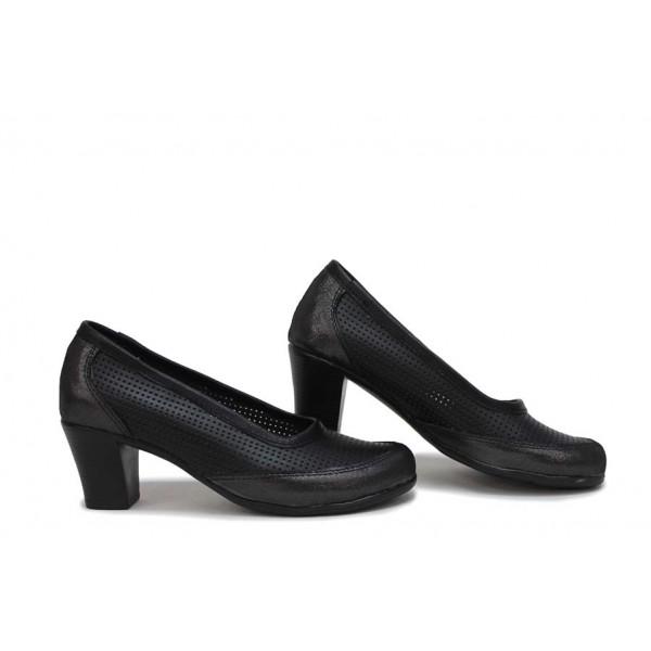 Български дамски обувки на среден ток, естествена кожа с нежна перфорация / Ани 262-1705 черен кожа-сатен / MES.BG