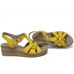 Анатомични дамски сандали, български, естествена кожа, удобно ходило / НЛМ 264-18206 жълт / MES.BG