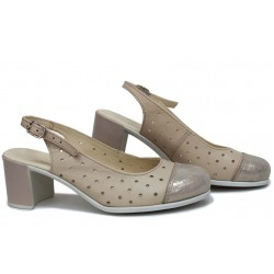 Дамски сандали, стилни, естествена кожа, катарама, анатомични / НЛМ 267-527 сахара сатен / MES.BG
