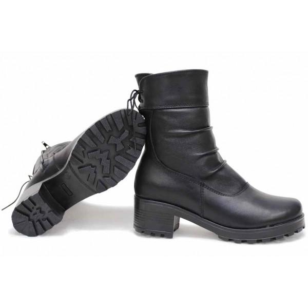 Леки дамски боти, български, анатомични, естествена кожа, среден ток / НЛМ 277-1610 черен / MES.BG