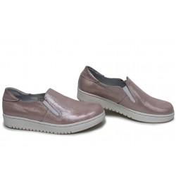Анатомични български обувки от естествена кожа НЛМ 280-1608 розов кожа-сатен | Равни дамски обувки | MES.BG