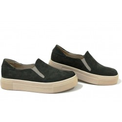 Анатомични български обувки от естествен набук НЛМ 280-192 зелен | Обувки на платформа | MES.BG