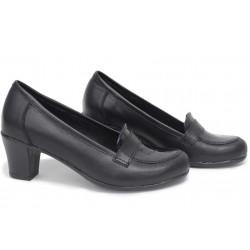 Анатомични български обувки от естествена кожа НЛМ 282-1705 черен кожа-кроко лак | Дамски обувки на среден ток | MES.BG