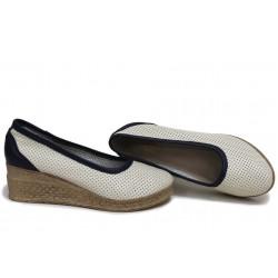 Анатомични български обувки от естествена кожа НЛМ 286-18206 бежов-син | Обувки на платформа | MES.BG