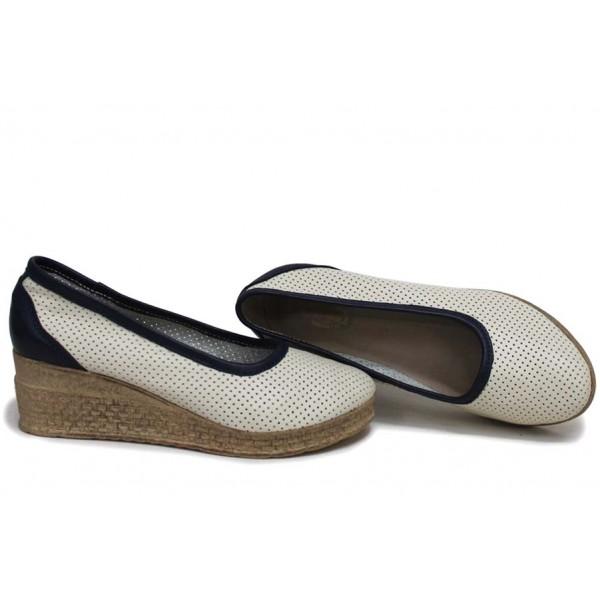 Анатомични български обувки от естествена кожа НЛМ 286-18206 бежов-син   Обувки на платформа   MES.BG