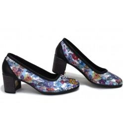 Анатомични български обувки от естествена кожа НЛМ 286-527 черен цветя | Дамски обувки на среден ток | MES.BG