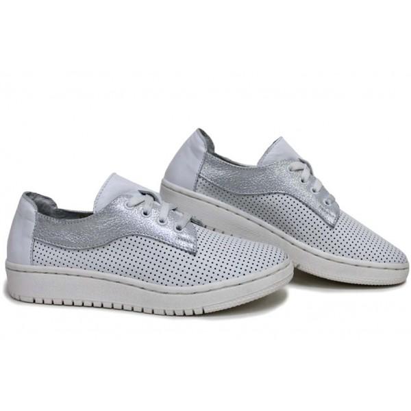 Анатомични български обувки от естествена кожа НЛМ 289-1608 бял кожа-сатен | Равни дамски обувки | MES.BG