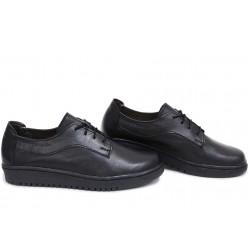 Анатомични български обувки от естествена кожа НЛМ 289-1608 черен кожа | Равни дамски обувки | MES.BG