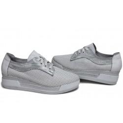 Анатомични български обувки от естествена кожа НЛ 289-8218 бял кожа-сатен | Обувки на платформа | MES.BG