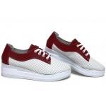 Анатомични български обувки от естествена кожа НЛМ 289-8218 бял-червен | Обувки на платформа | MES.BG