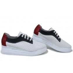 Анатомични български обувки от естествена кожа НЛМ 289-8218 бял-син-червен | Обувки на платформа | MES.BG