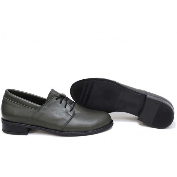 Анатомични български обувки от естествена кожа НЛМ 292-Аризона зелен | Равни дамски обувки | MES.BG