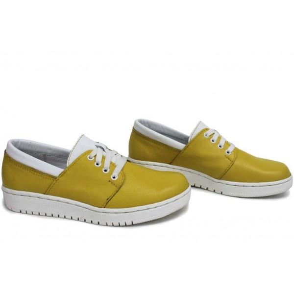 Анатомични български обувки от естествена кожа НЛМ 292-1608 жълт-бял | Равни дамски обувки | MES.BG