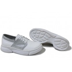 Анатомични български обувки от естествена кожа НЛМ 292-187 бял кожа-сатен | Равни дамски обувки | MES.BG