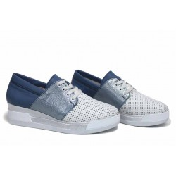 Анатомични български обувки от естествена кожа НЛ 292-8218 бял-син | Обувки на платформа | MES.BG