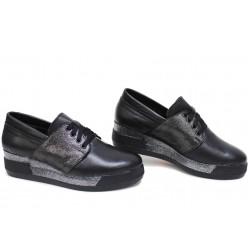 Български анатомични обувки, естествена кожа, платформа с удобна височина / Ани 292-8218 черен кожа-сатен / MES.BG