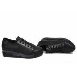 Анатомични български обувки от естествена кожа НЛМ 297-8218 черен кожа-сатен | Обувки на платформа | MES.BG