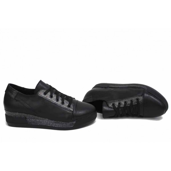 Анатомични български обувки от естествена кожа НЛМ 297-8218 черен кожа-сатен   Обувки на платформа   MES.BG