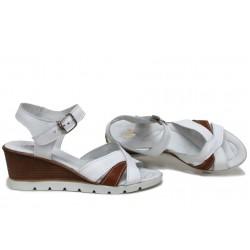 Дамски сандали на платформа, естествена кожа, български, леки / НЛМ 304-96199 бял антик / MES.BG