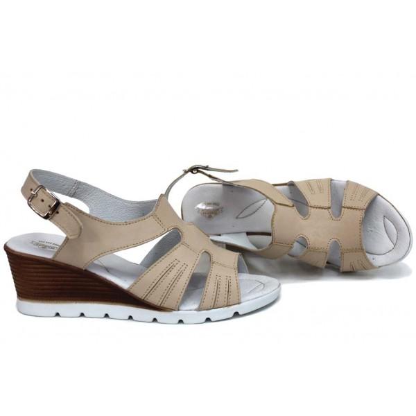 Анатомични сандали, български, дамски, естествена кожа, леки, платформа / НЛМ 307-96199 бежов / MES.BG