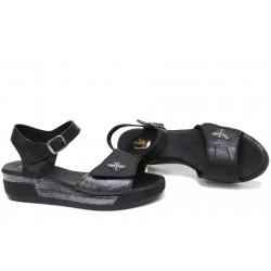 Ежедневни дамски сандали, български, естествена кожа, анатомични, катарама и велкро закопчаване / НЛМ 309-8218 черен / MES.BG