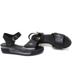 Анатомични дамски сандали на платформа, велкро лепенки при пръстите, естествена кожа / Ани 309-8218 черен / MES.BG