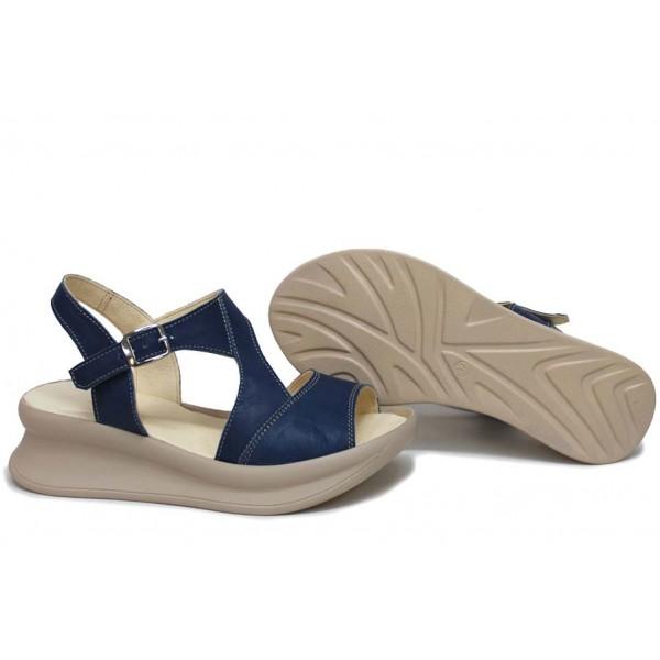 Дамски сандали, ежедневни, на платформа, естествена кожа, катарама, анатомични / НЛМ 310-359 син / MES.BG