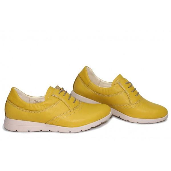 Български анатомични обувки, дамски, естествена кожа, комфортно ходило / НЛМ 313-171 жълт / MES.BG