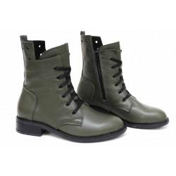 Български дамски боти, естествена кожа, анатомични ходила, леки, топли / НЛМ 317-Аризона зелен / MES.BG