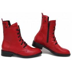 Атрактивни дамски боти, естествена кожа в червен цвят, български, анатомични, зимни / НЛМ 317-Аризона червен / MES.BG
