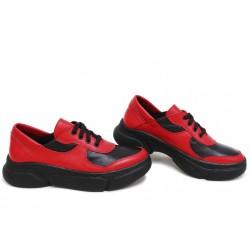 Анатомични български обувки от естествена кожа НЛМ 322-187 червен-черен | Дамски спортни обувки | MES.BG