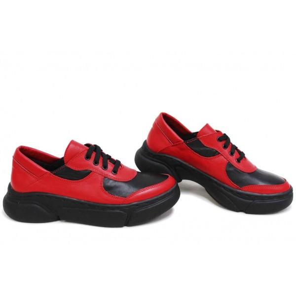 Анатомични български обувки от естествена кожа НЛМ 322-187 червен-черен   Дамски спортни обувки   MES.BG